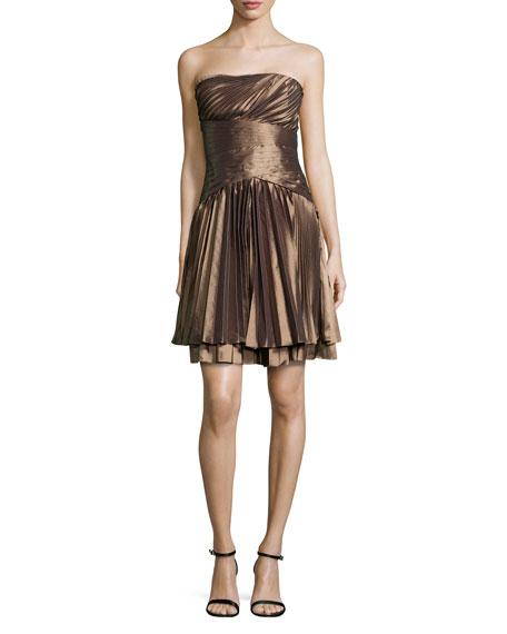 65e09de5ce Halston Heritage Strapless Pleated Taffeta Dress