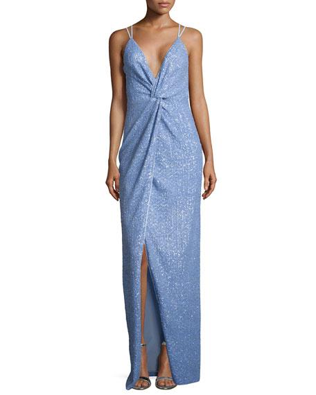 fb8c608578b9b8 Halston Heritage Sleeveless V-Neck Twist Sequined Gown