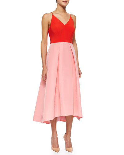 Halter Colorblock Fit & Flare Dress