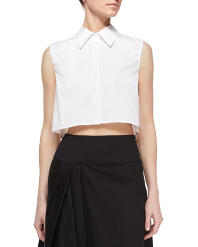 Sleeveless Cotton-Blend Crop Blouse