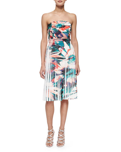 Strapless Pleated Floral-Print Dress