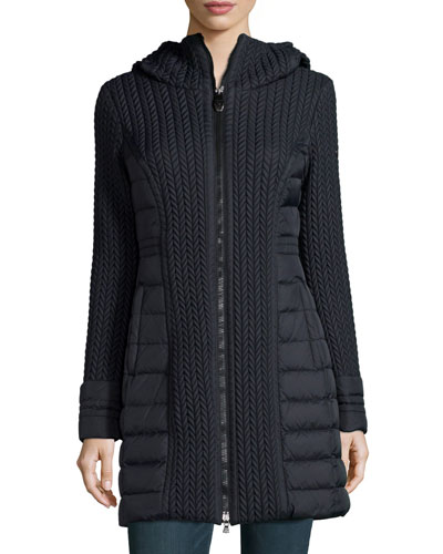 Mesa Cable-Quilted Puffer Coat