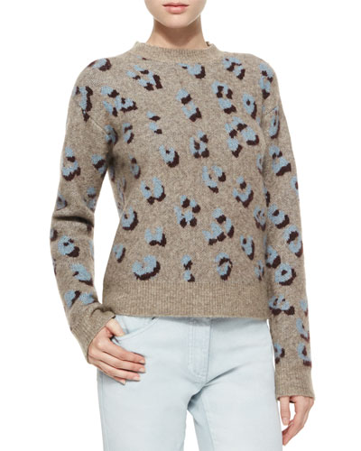 Long-Sleeve Animal-Print Pullover Top