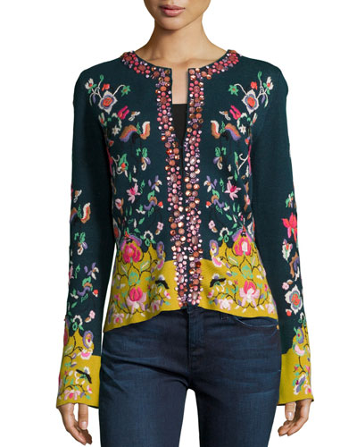 Embroidered Folkloric Cardigan, Women's