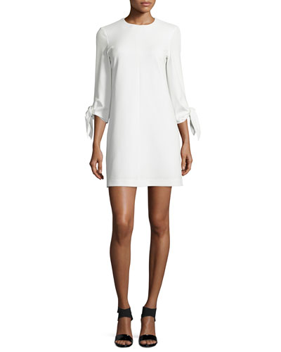 Tie-Sleeve Ponte Mini Dress, Ivory