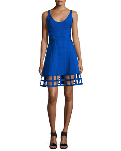 Sleeveless Bandage Dress W/Cage Hem, Bright Blue