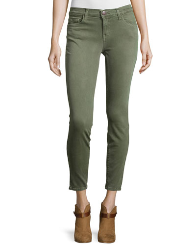 The Stiletto Cropped Skinny Jeans, Army Green