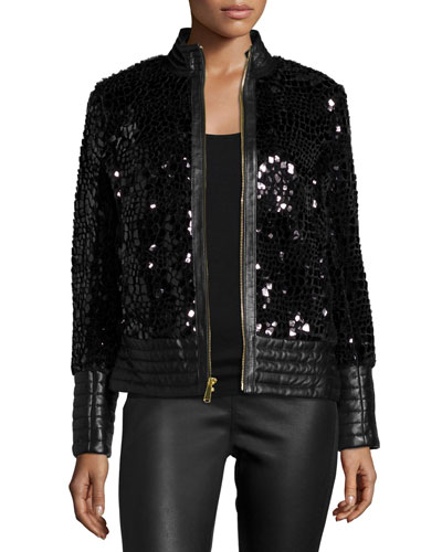 Spangled Faux-Fur Leather-Trim Jacket