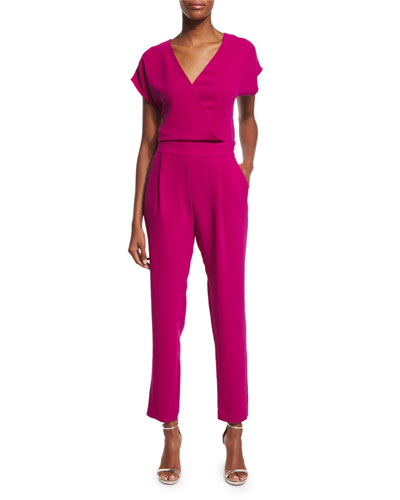 Emerson Cropped Surplice Jumpsuit, Summer Beet