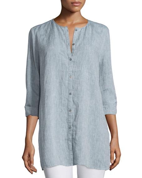 c41eb434 Eileen Fisher Organic Linen Long Shirt, Chambray, Petite