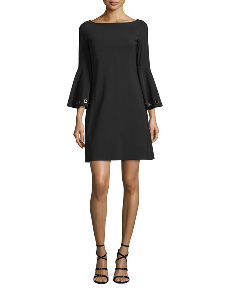 Bell-Sleeve Ponte A-Line Dress Black