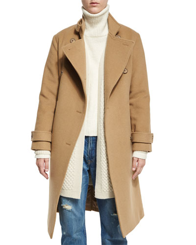 Wool-Blend Double-Breasted Trenchcoat, Camel