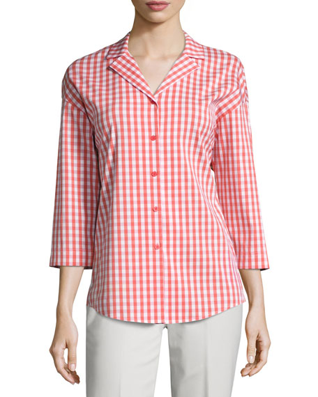 Analeigh 3/4-Sleeve Hampton Check Blouse
