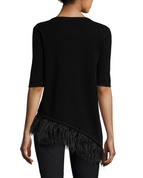Cashmere Half-Sleeve Feather-Trim Top