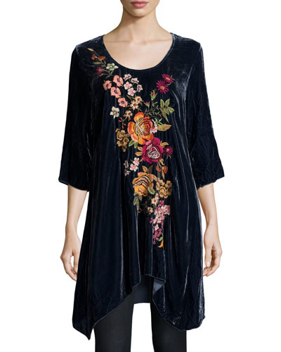 Michelle Embroidered Velvet Tunic, Petite