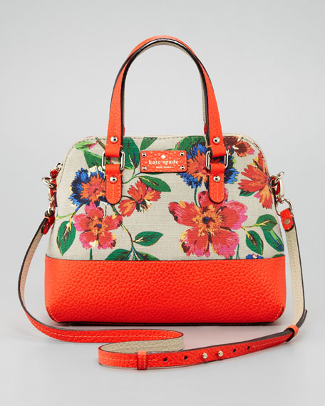 Grove Court Maise Fl Print Satchel Bag Orange