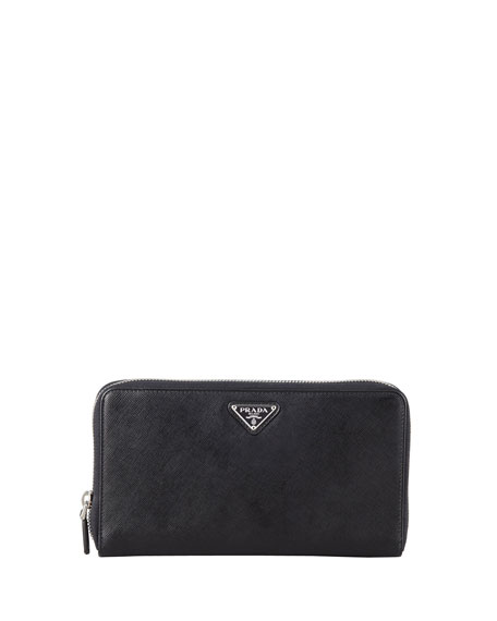 f73e3b974a47 Prada Saffiano Triangle Zip-Around Wallet, Black (Nero)