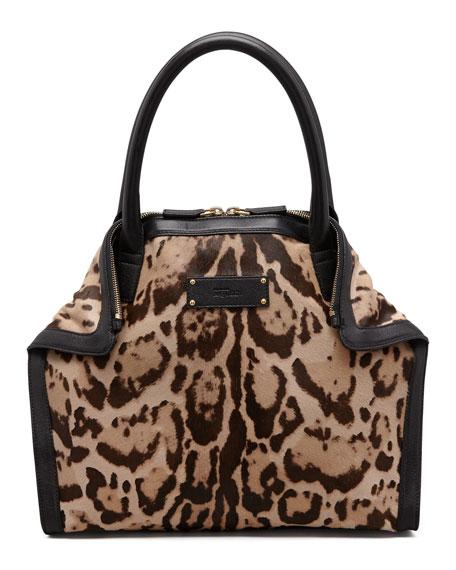854e584c78fe Alexander McQueen De-Manta Mini Leopard-Print Calf Hair Tote Bag