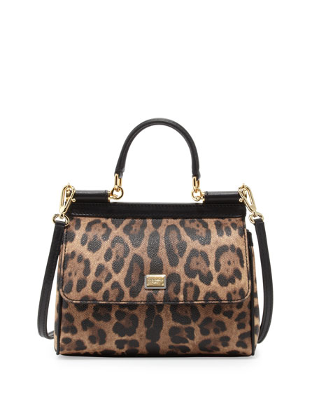 d70d7ad66515 Dolce   Gabbana Miss Sicily Small Leopard-Print Satchel Bag