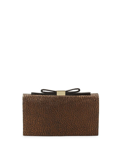 Nora Crinkled Leather Smart Clutch Bag, Cosmos