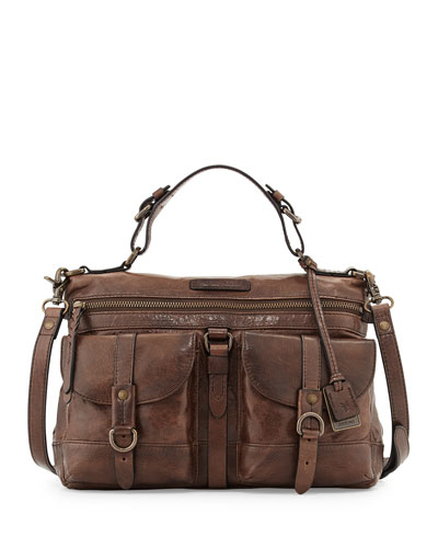 Josie Leather Satchel Bag, Dark Brown