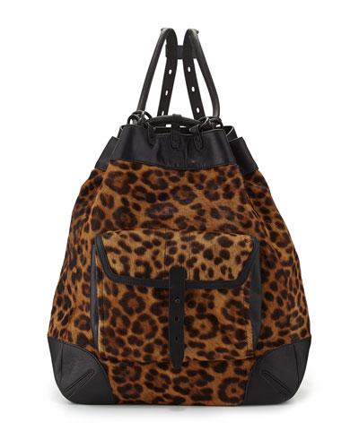 Grayson Leopard-Print Calf Hair Backpack