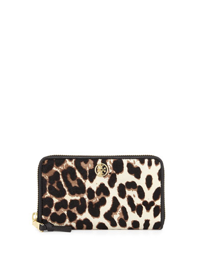 Robinson Calf Hair Zip Wallet, Snow Leopard