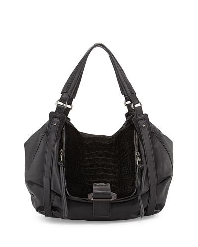 Jonnie Kangaroo Hobo Bag, Black
