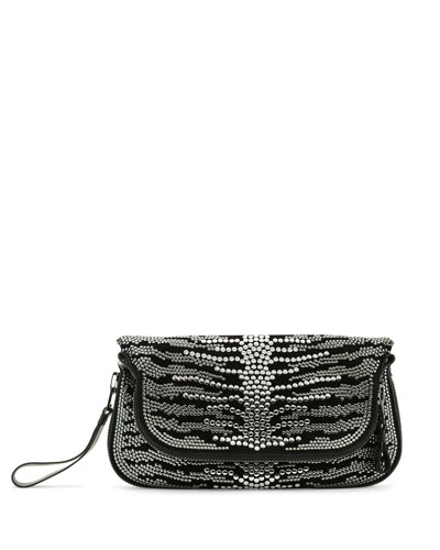 Jennifer Studded Spine Clutch Bag, Black