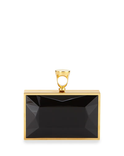 Faceted Brass Ring Clutch Bag, Black