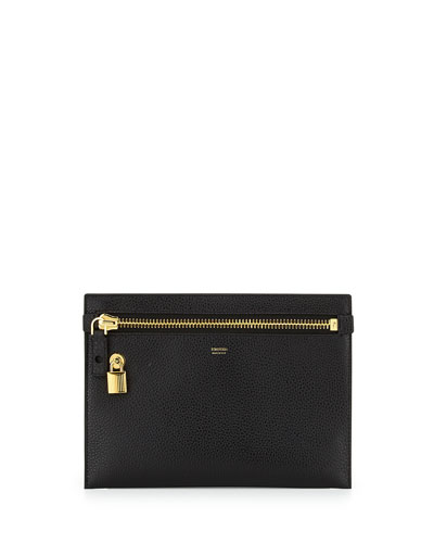 Large Calfskin Zip Clutch Bag, Black