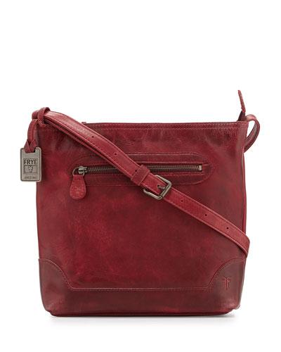 Melissa Tumbled Leather Crossbody Bag, Burgundy