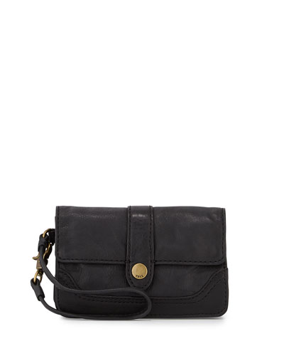 Campus Tumbled Leather Wristlet, Black