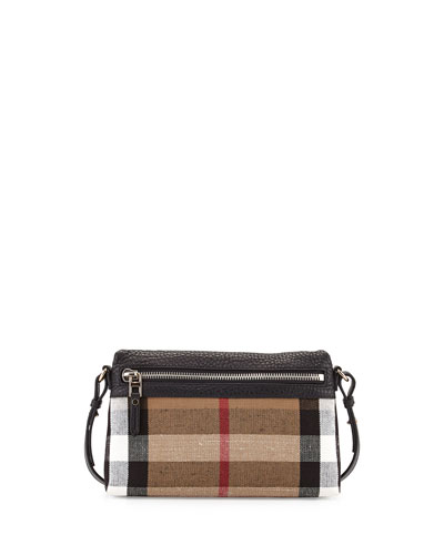 Check Canvas Crossbody Bag, Black