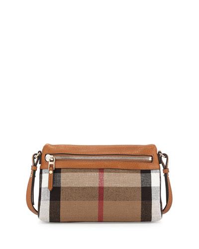 Check Canvas Crossbody Bag, Saddle Brown