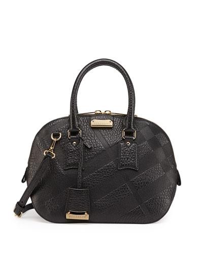Check-Embossed Leather Satchel Bag, Black