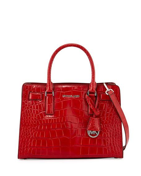 f6b353dee MICHAEL Michael Kors Dillon Croc-Embossed Satchel Bag, Red