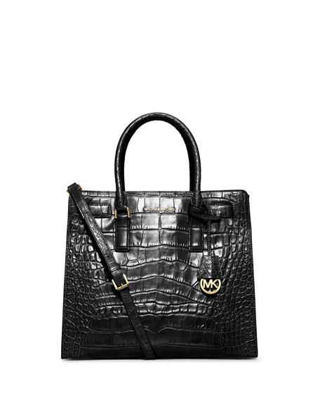 9813b77b52d9d4 MICHAEL Michael Kors Dillon Croc-Embossed Tote Bag, Black