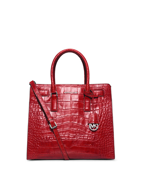 Dillon Large Croc Embossed Tote Bag Red
