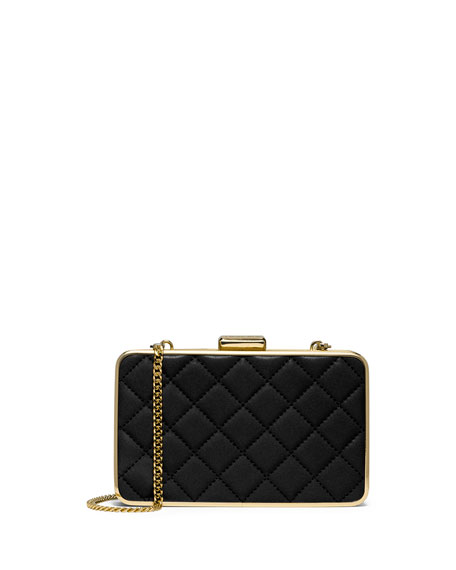 Elsie Quilted Box Clutch Bag Black