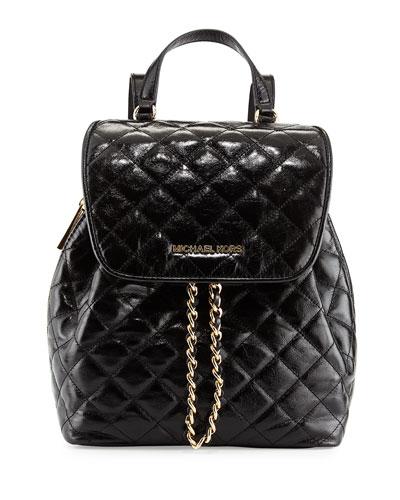 Susannah Medium Quilted Backpack, Black