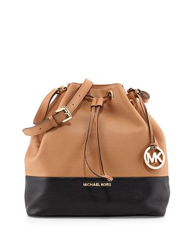 Jules Large Drawstring Shoulder Bag, Suntan/Black