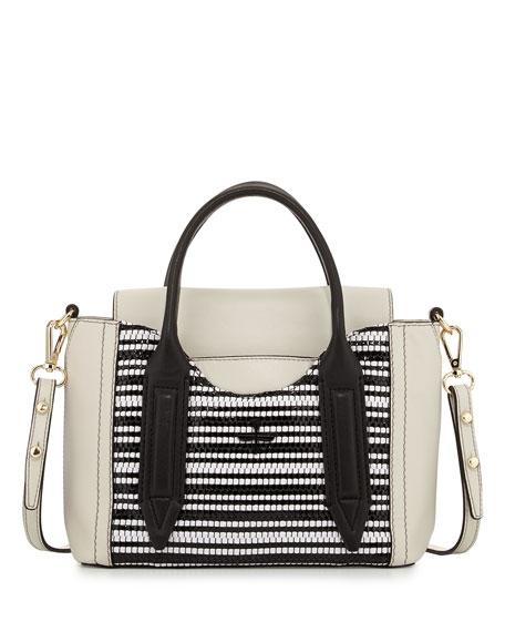 Provence Woven Mini Satchel Bag Black White