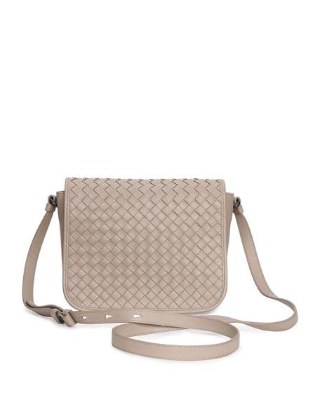 02b26827ae984 Bottega Veneta Small Woven Flap Crossbody Bag