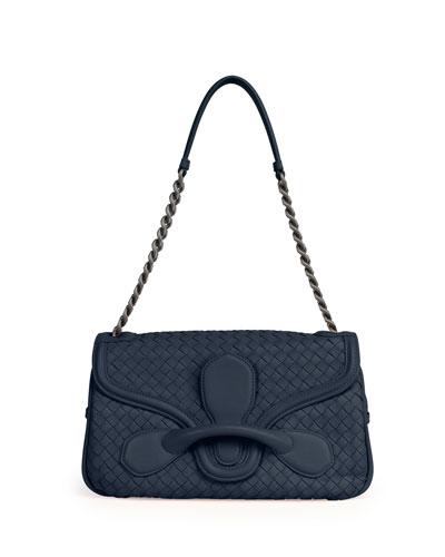 Medium Intrecciato Flap Shoulder Bag, Navy