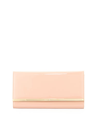 Maia Large Patent Wallet Clutch Bag, Nude