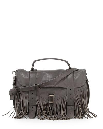 PS1 Medium Fringe Satchel Bag, Gray