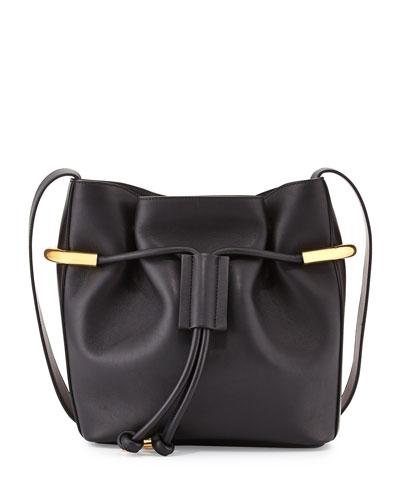 Emma Small Drawstring Shoulder Bag, Black