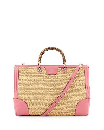 Bamboo Straw Shopper Tote Bag, Natural/Pink