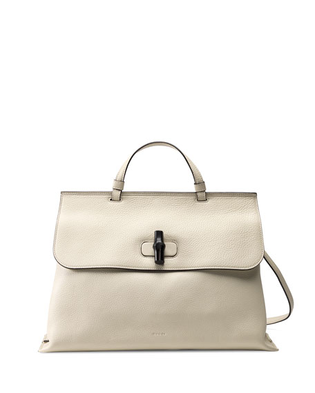 4e387b42c Gucci Bamboo Daily Leather Top Handle Bag, White